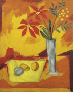 Still Life of Peaches and Red Flowers - Natalia Gontcharova