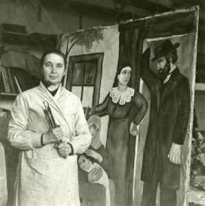 Natalia Gontcharova with Jewish Family Painting