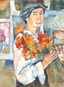 Natalia Gontcharova Self Portrait Yellow Lilies